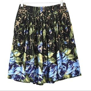 LOFT Ann Taylor Floral Pleated Circle Skirt Size 0